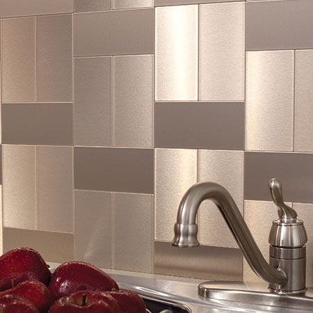 Aspect Peel And Stick Glass And Metal Backsplash Tiles Are Affordable And Easy T Metallic Backsplash Stainless Steel Backsplash Stainless Steel Tile Backsplash Peel and stick metal backsplash tiles