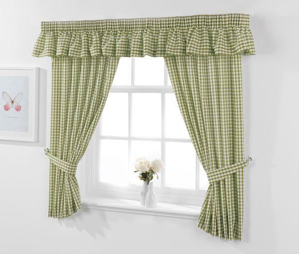 Sage Green Gingham Kitchen Curtains | Kitchen Curtains UK .
