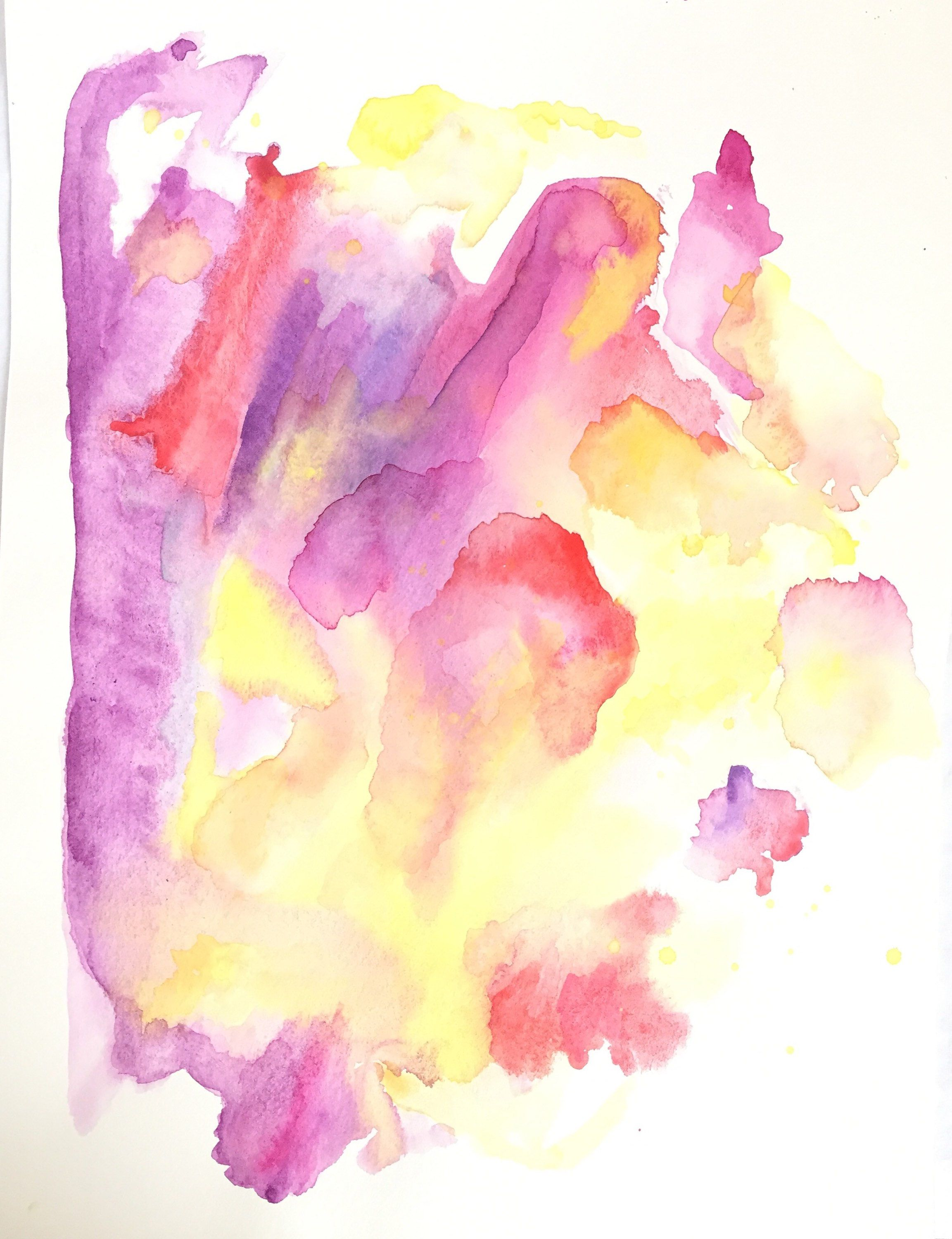 Saturated Pink Yellow Red In An Original Affordable Watercolor
