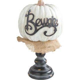 Beware Pumpkin Decor in Cream