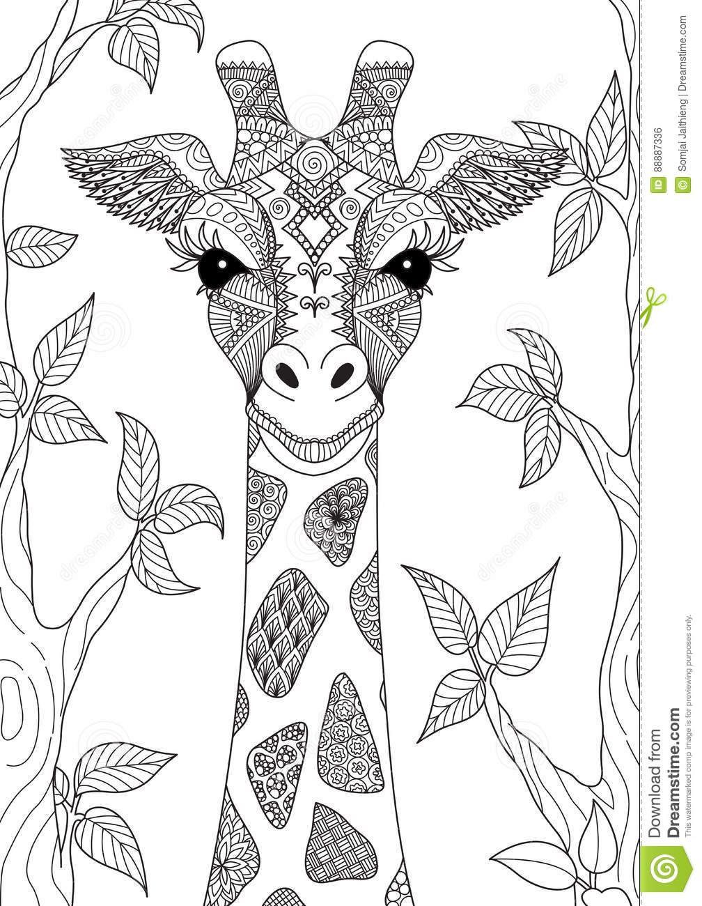 Giraffe stock vector. Illustration of monochrome, doodle