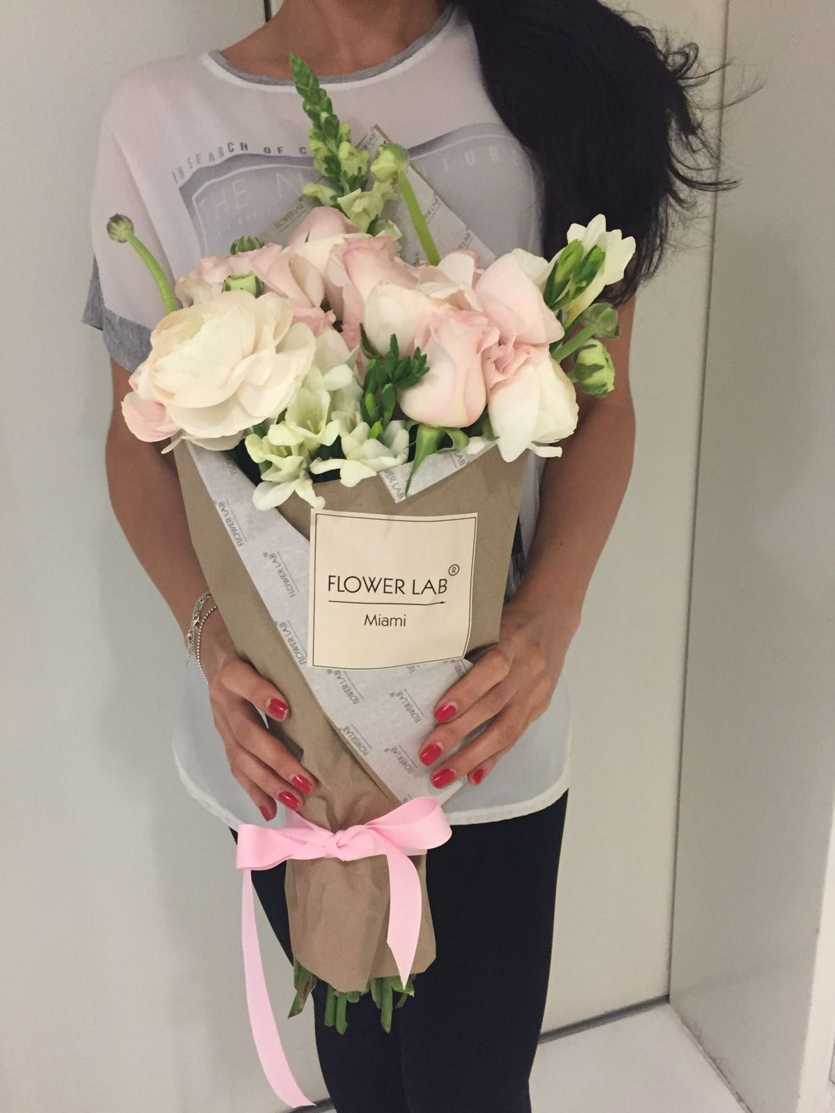 Pin by flower lab on flower lab usa bouquets pinterest how to flower wrap how to wrap flowers lab wrapping bouquets labs izmirmasajfo