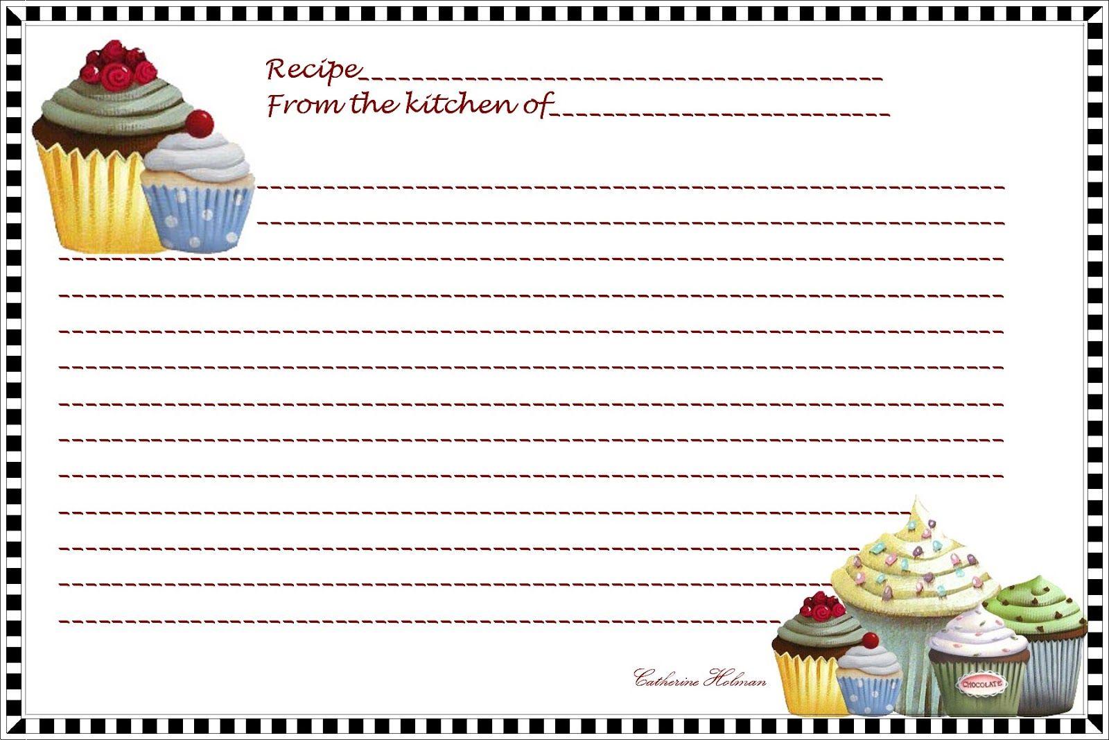 free printables recipes index card