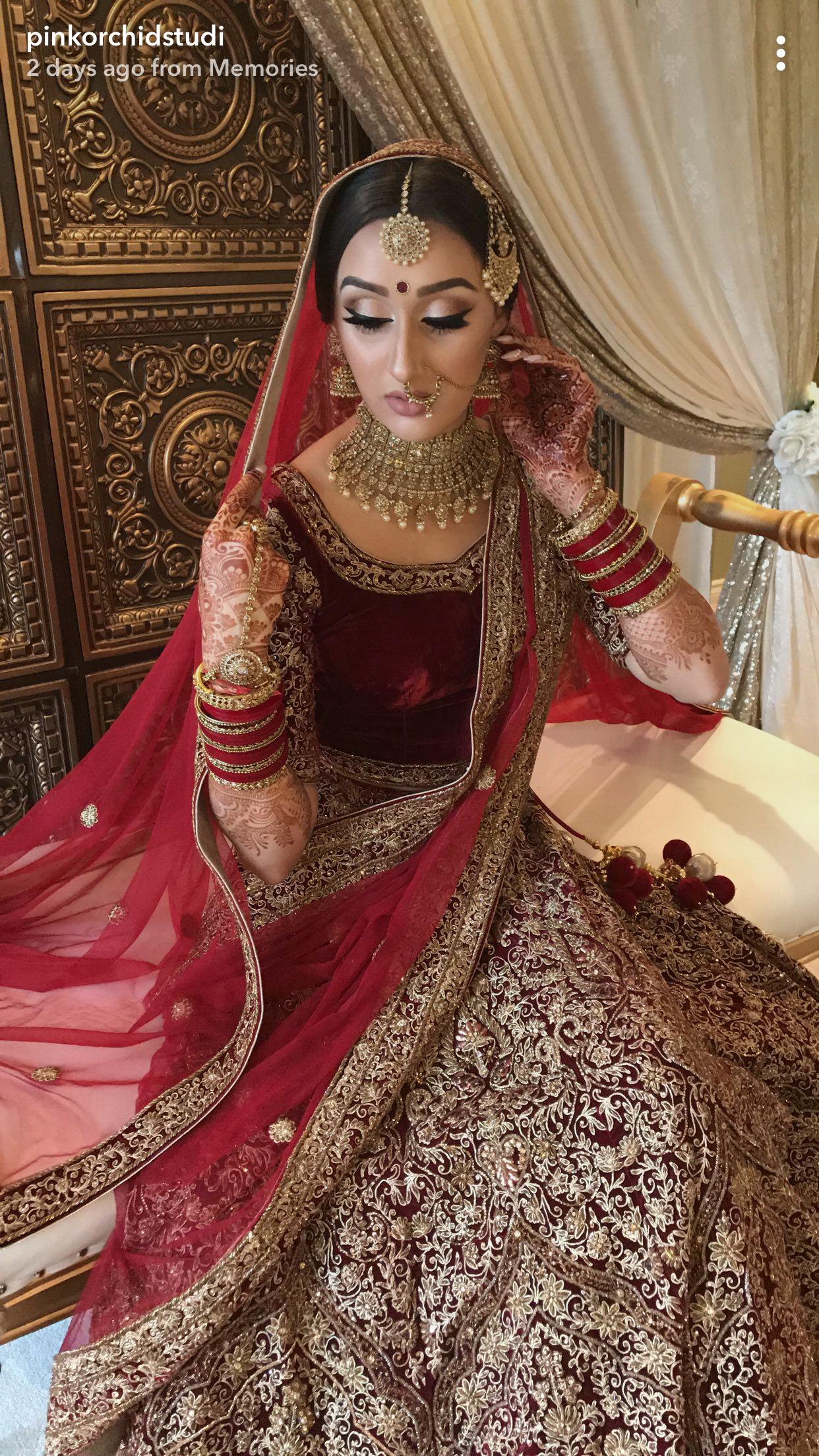 indian bridal, indian bridal makeup, maroon lehenga, velvet