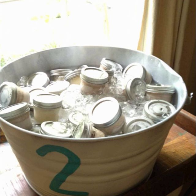 Spray paint a tin bucket and paint the number 2 on it!
