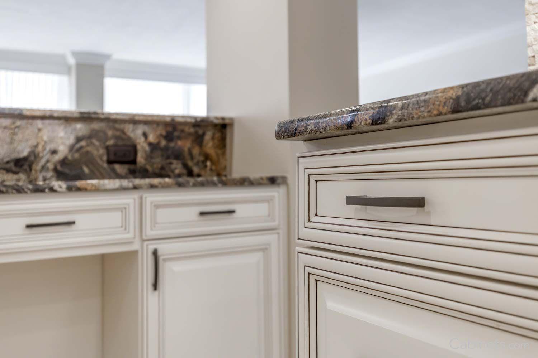 Springfield Maple Antique White Chocolate Glaze Corner Sink Kitchen Antique White Kitchen Travertine Tile Backsplash