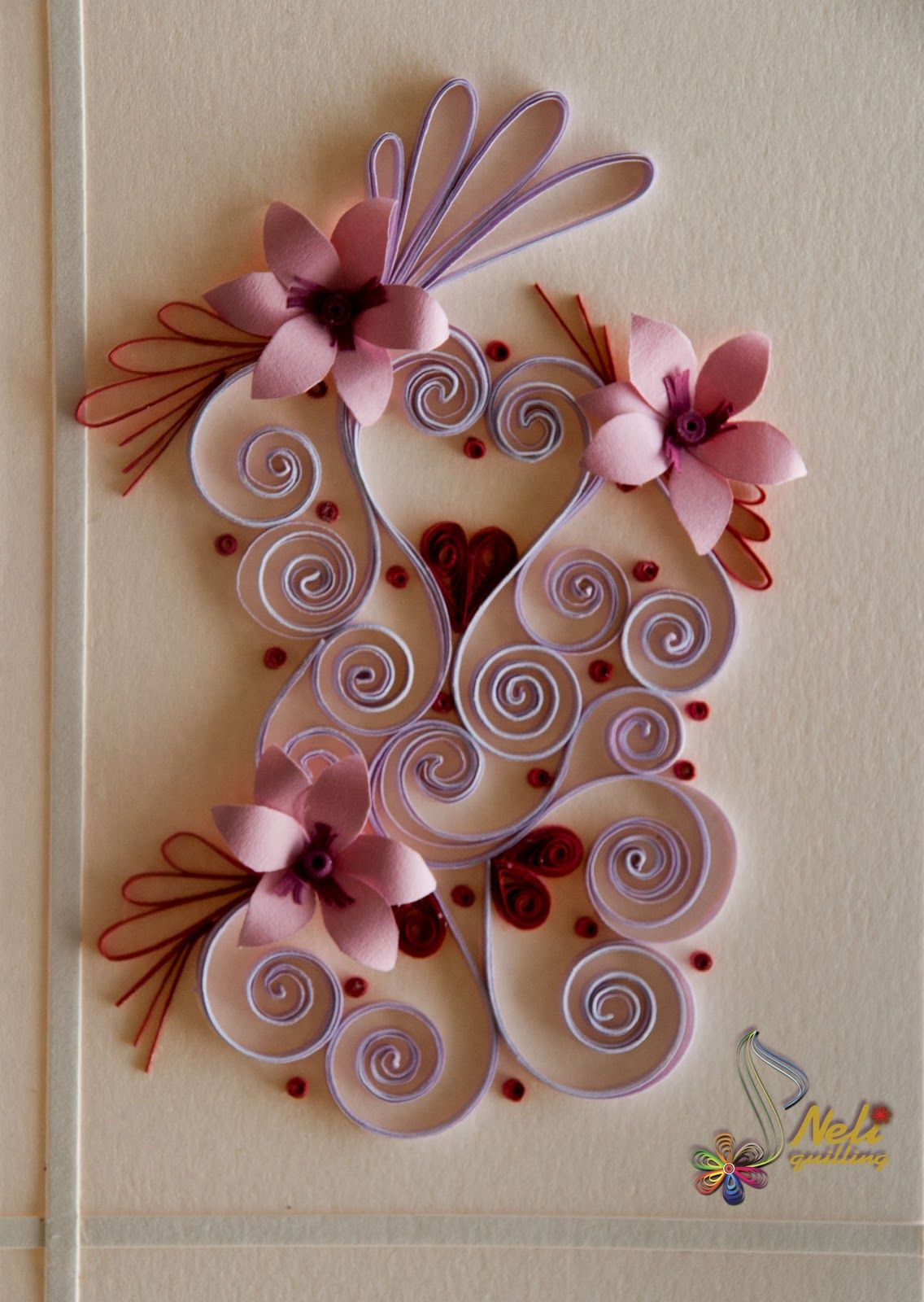 Quilling card happy hearts day neli quilling paper for Quilling heart designs