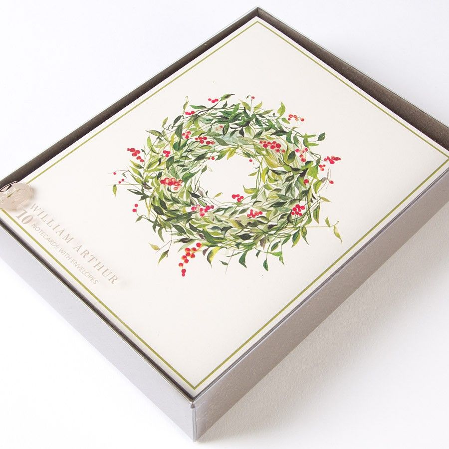 Winterberry Wreath Holiday Boxed Cards by William Arthur - Papyrus ...