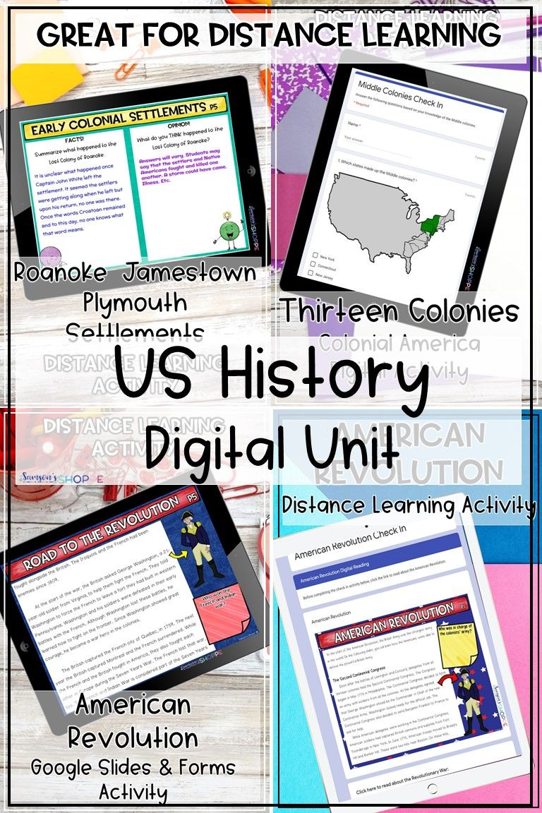 American history digital distance learning unit in 2020