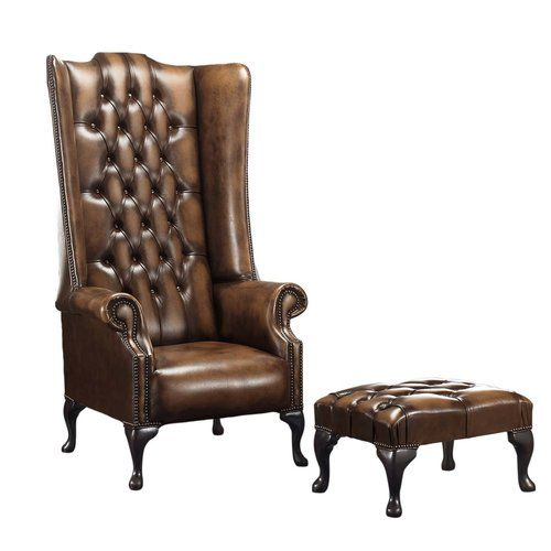 Barlet High Back Wing Chesterfield Chair And Footstool Rosalind