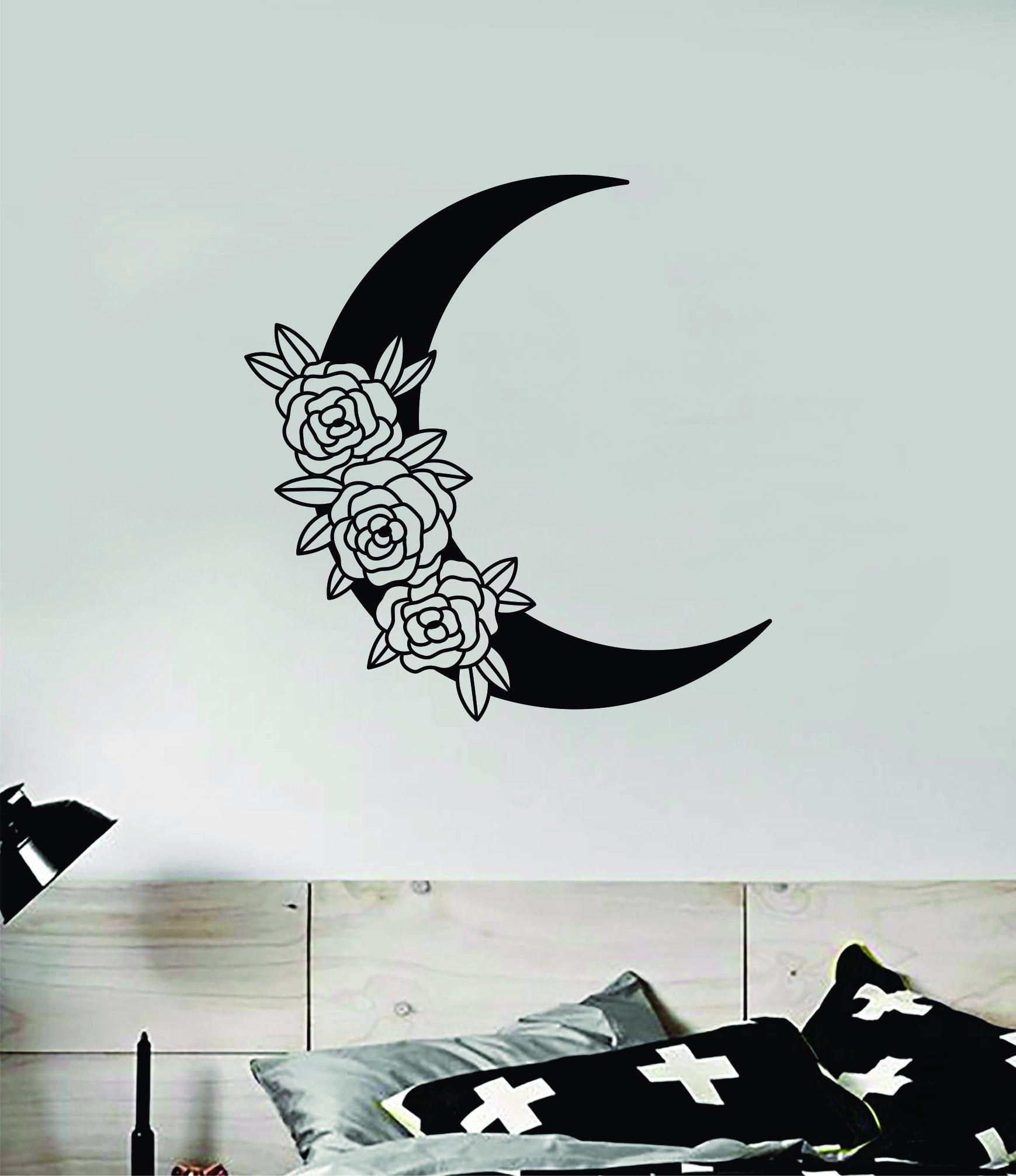 Moon Roses Wall Decal Sticker Vinyl Art Wall Bedroom Room Home Decor Teen Inspirational Girls Tattoo Boho Nature Space - black