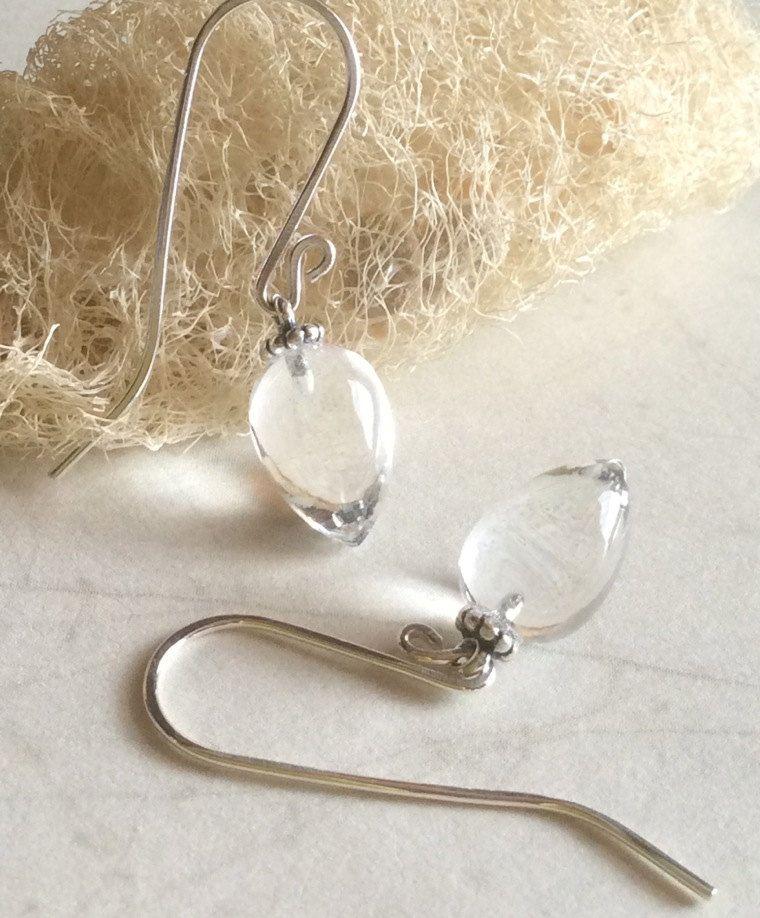 Inverted Rock Crystal Quartz Gemstone Teardrop Sterling Silver Dangle  Earrings