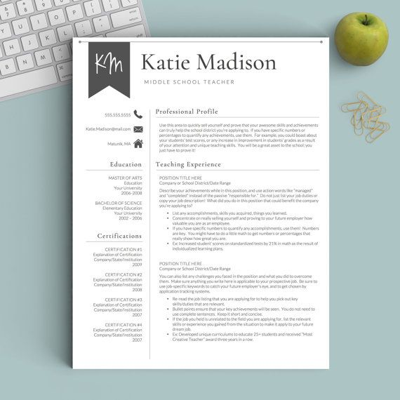 Teacher Resume Template for Word \ Pages 1-3 Page Resume for job - psychology resume template