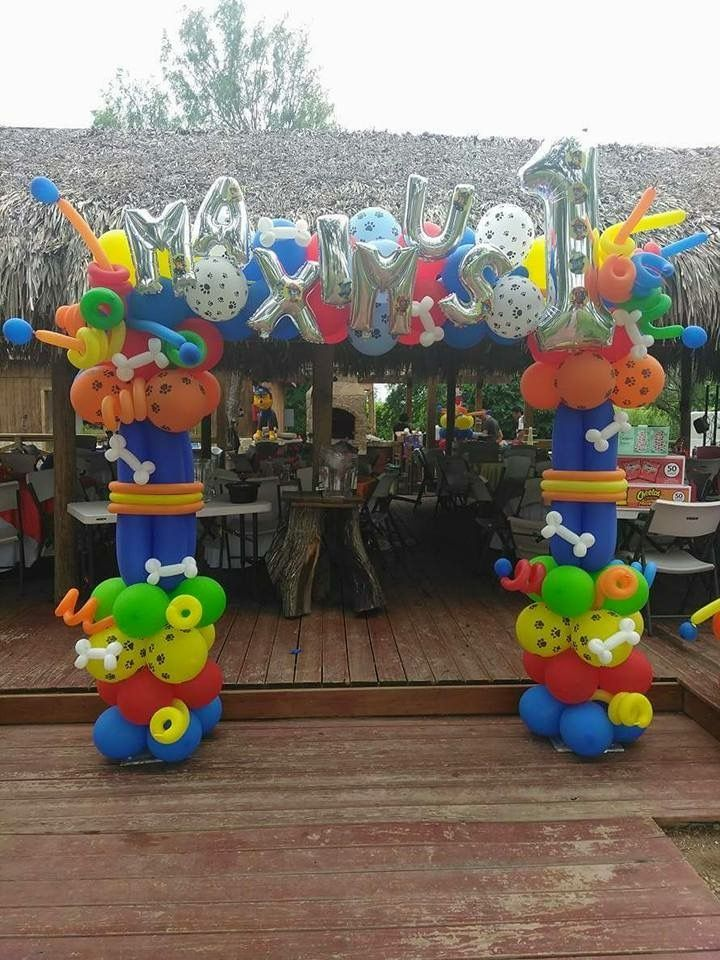 Paw patrol balloon arch birthday party