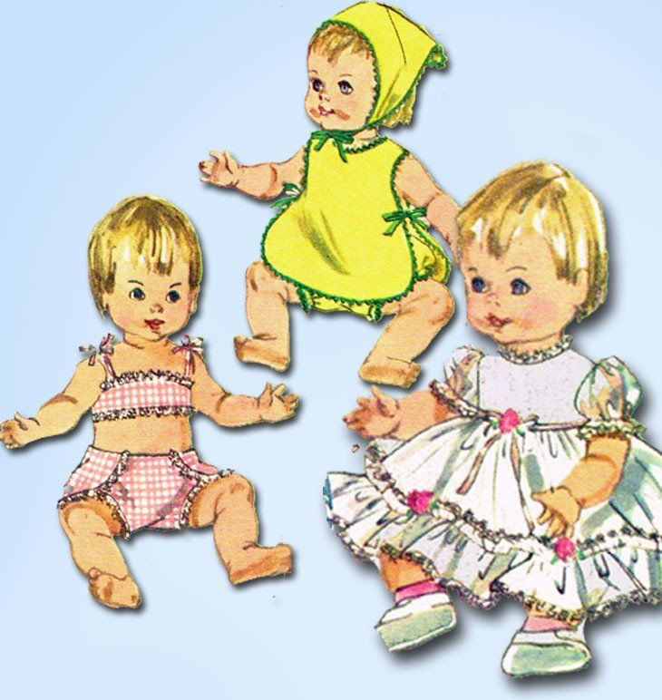 1960s Vintage Simplicity Sewing Pattern 6817 Ginny Baby 14 Inch Doll ...