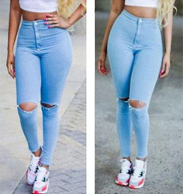d51d1ef037085b Sexy Jeans Women High Waisted Thin Hole Jeans Skinny Stretchy Pants Ripped  Distressed Jeggings
