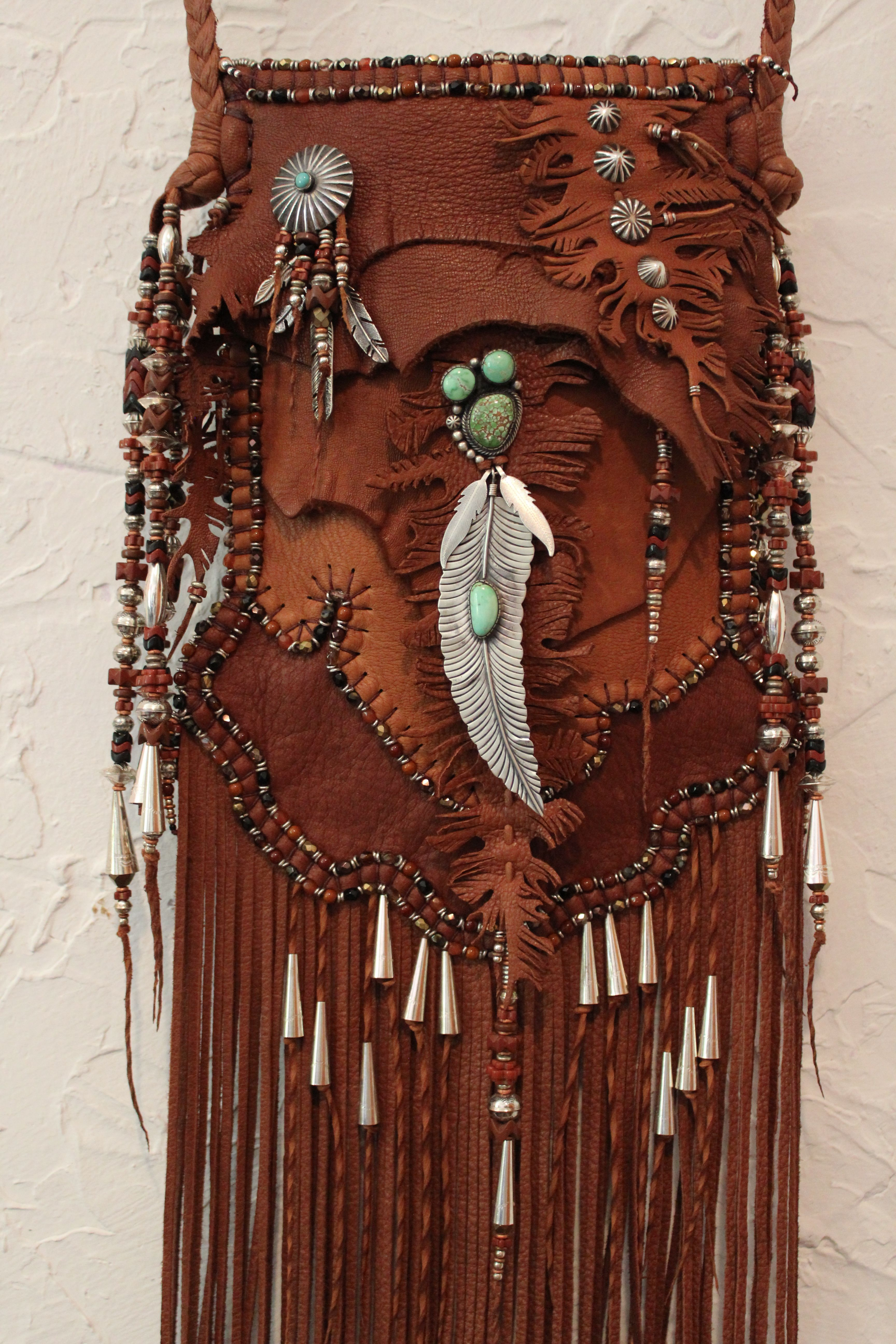 ॐ American Hippie Bohemian Style Boho Leather Fringe Bag