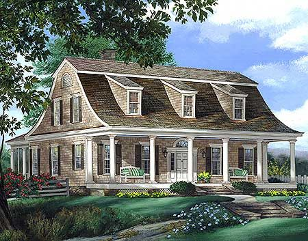 Plan 32629wp Gambrel House Plan With 2 Stairs Colonial House Plans Dutch Colonial Homes Dutch House