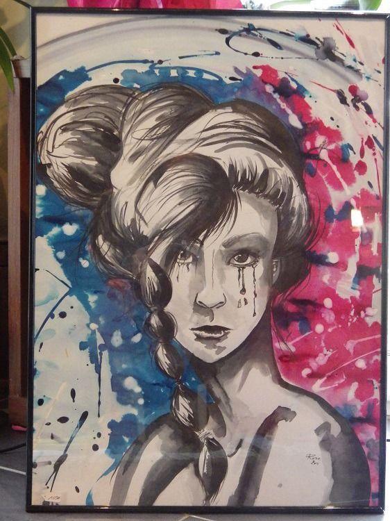 tableau dessin sous verre portrait de femme à lu0027encre de chine et