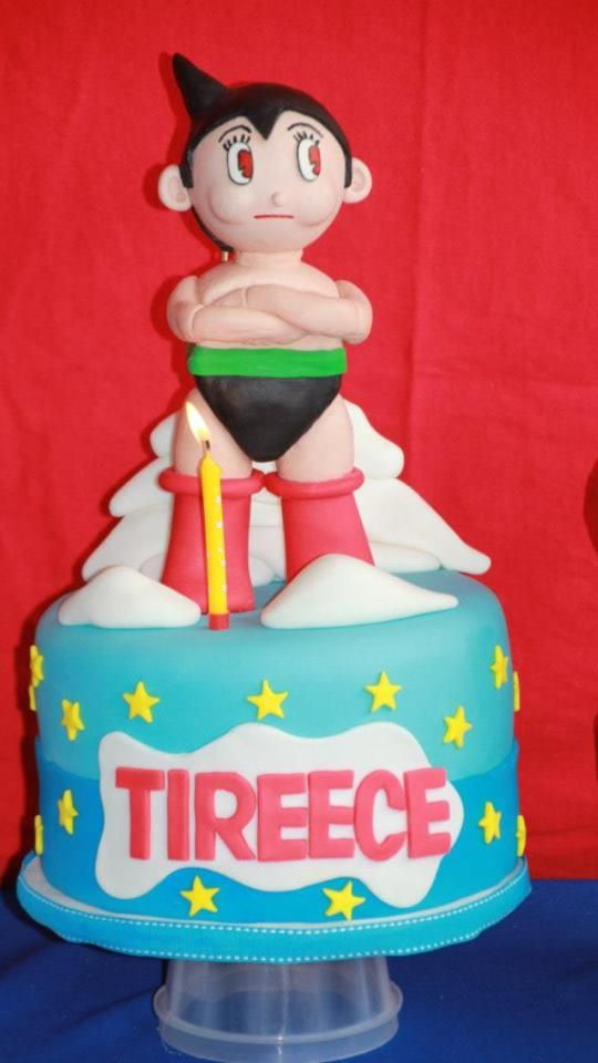 Astro Boy Theme Red Velvet 1st Birthday Cake Gumpaste Astro