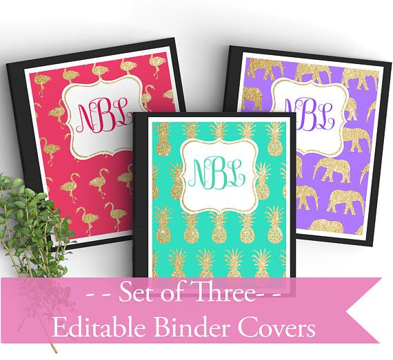 set of 3 monogram editable binder covers gold glitter personalized binder inserts and spines 85x1
