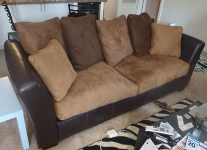 $300 Ashley Furniture Leather and Suede Sofa Couch- Brown ...
