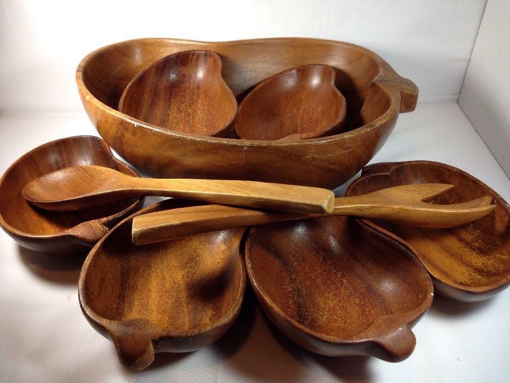 Wood Monkey Pod Wooden Salad Bowl Set Spoon Fork Serve 6 Philippines Chili Shape Wooden Salad Bowl Salad Bowls Set Vintage Tiki