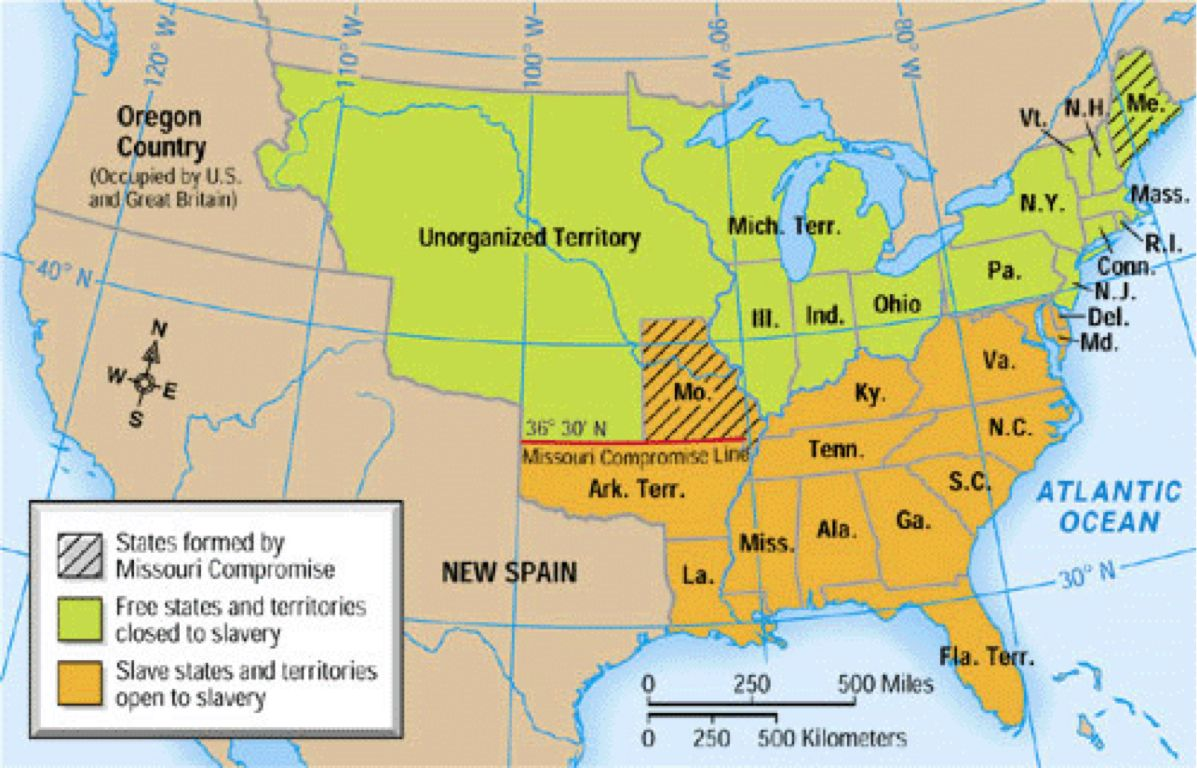 Slavery States Map.The Missouri Compromise 1840 Missouri Declares Itself A Slave