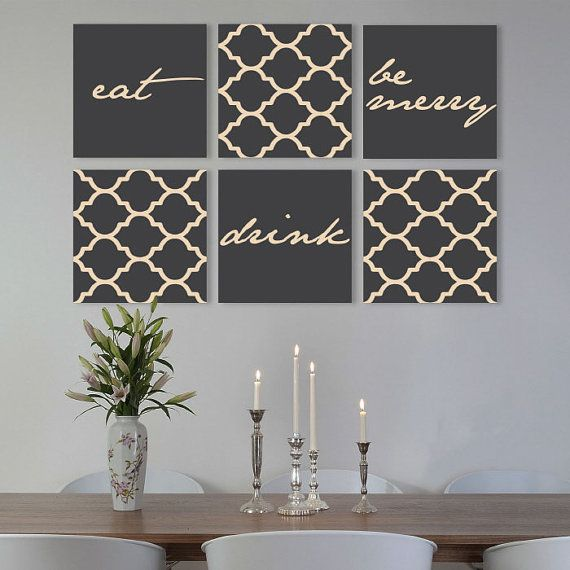 Dining Room Art Prints: Eat Drink Be Merry On Canvas Gallery Wraps Set Of 6 Dining