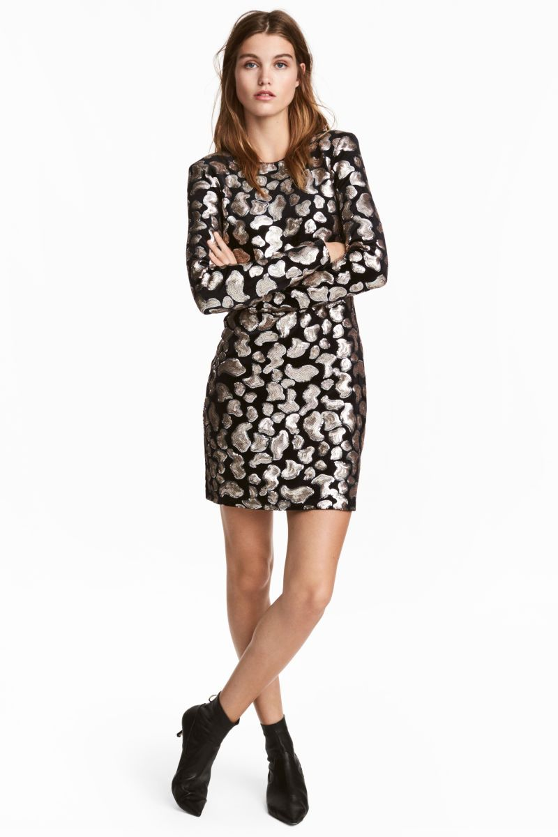 Blacksequins short gently fitted dress in velour with sequined