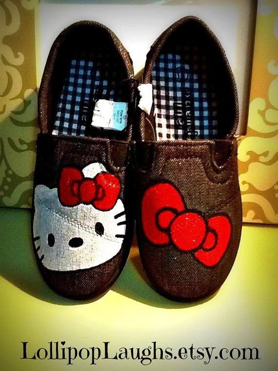 21da1af13 Hello Kitty Hand Painted Canvas Shoes Toddler by LollipopLaughs, $15.00