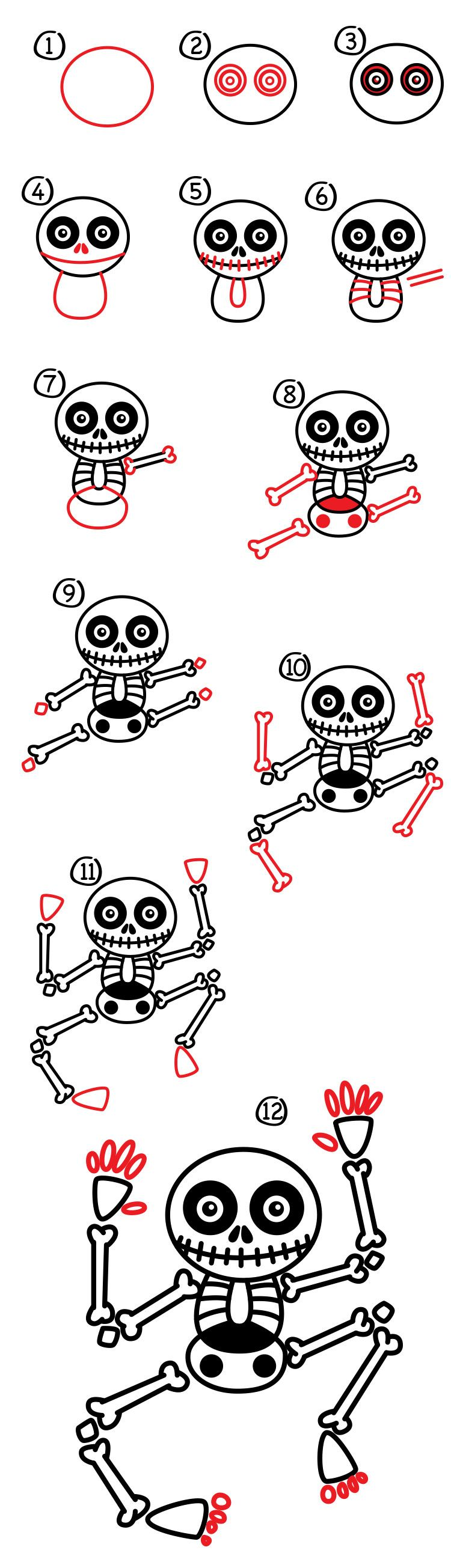 How To Draw A Skeleton Art For Kids Hub Easy