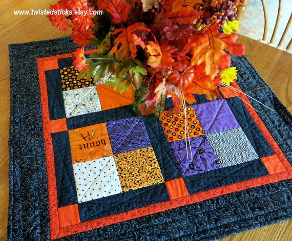 Buy HALLOWEEN TABLE TOPPER/Quilted Table Topper/Halloween Wall Hanging by twistedsticks. Explore more products on http://twistedsticks.etsy.com