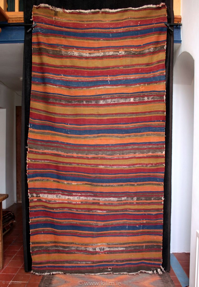 Rare type of striped antique Anatolian kilim made by a Turkmen weaver in the Karaman to Aksaray area.  One of the antique kilims collected in Turkey in June, striped kilims of this age  ...