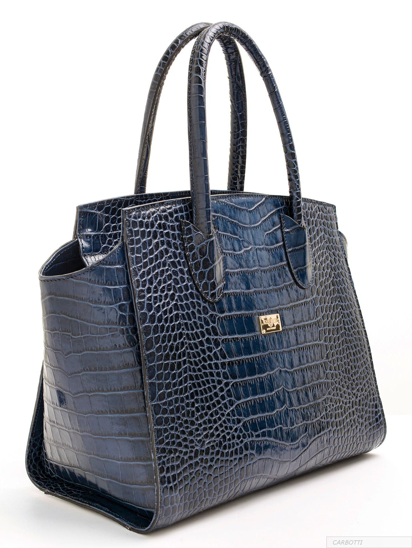 Cocco Rico Blue Luxury Handbag In Italian Leather By Carbotti