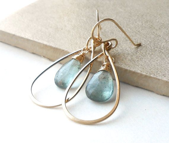 Gold Gemstone Earrings Moss Aquamarine Wrapped by DianeMabrey