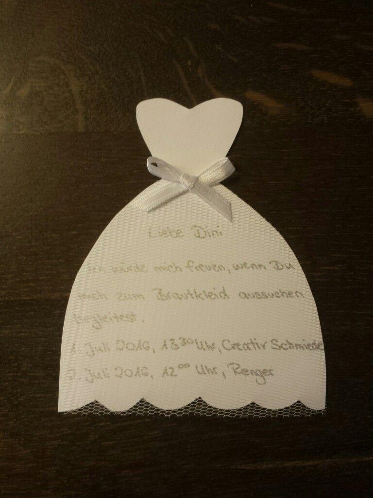 Einladungskarte für meine Freundin zum Brautkleid aussuchen ...