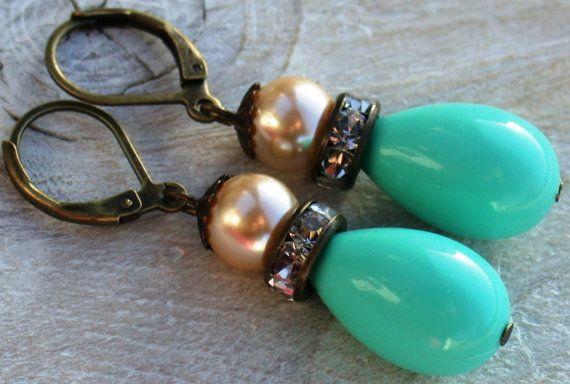 Turquoise Drop Earrings Vintage By Vintagebynina 34 00