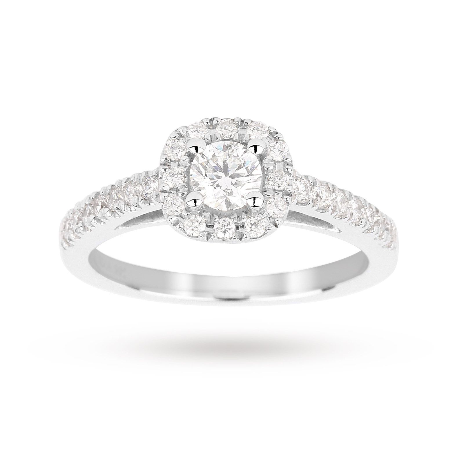 b30812ae54b Brilliant cut 0.65 total carat weight diamond halo ring with diamond ...