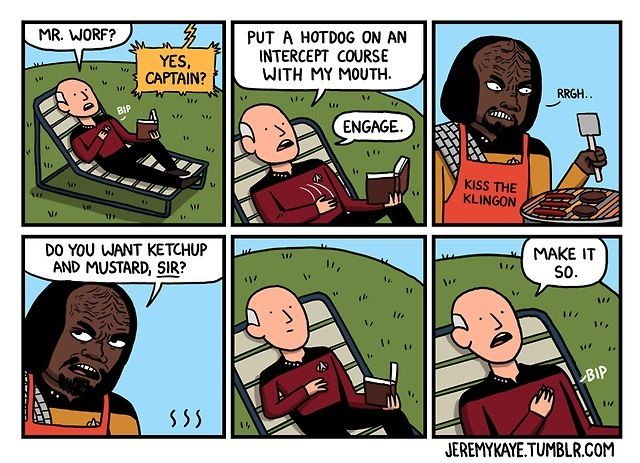 I am DYING. Picard and Worf at the BBQ. Morning Googlastarlords! Tuesday already and I've not come across any…