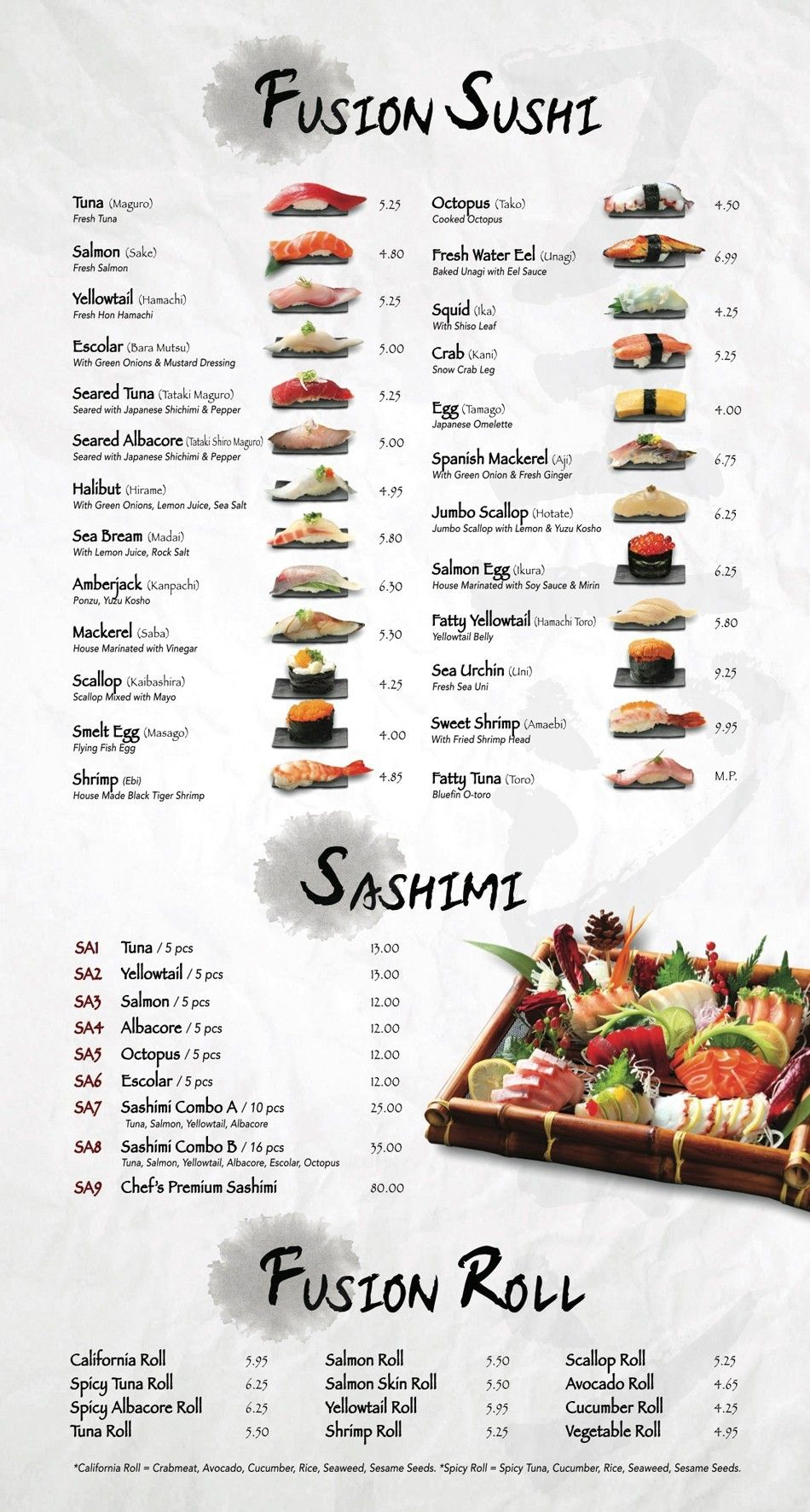 Asian cuisine menu all not