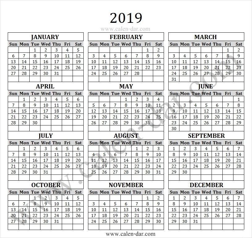 Free Calendar 2019 Yearly Calendar 2019 Calendar, Free calendar