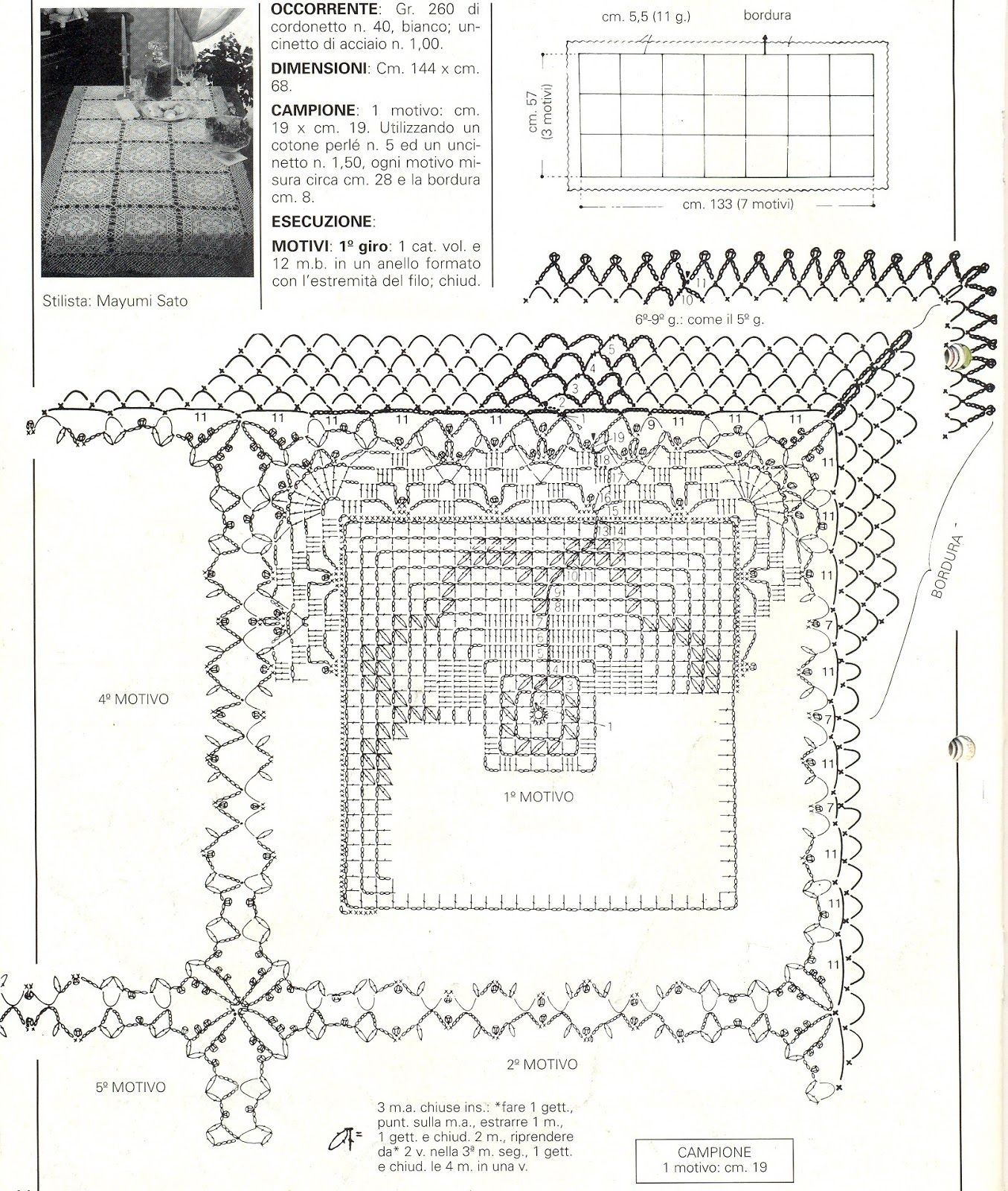 Tablecloth of the big square motif | filee | Pinterest | Mantel ...