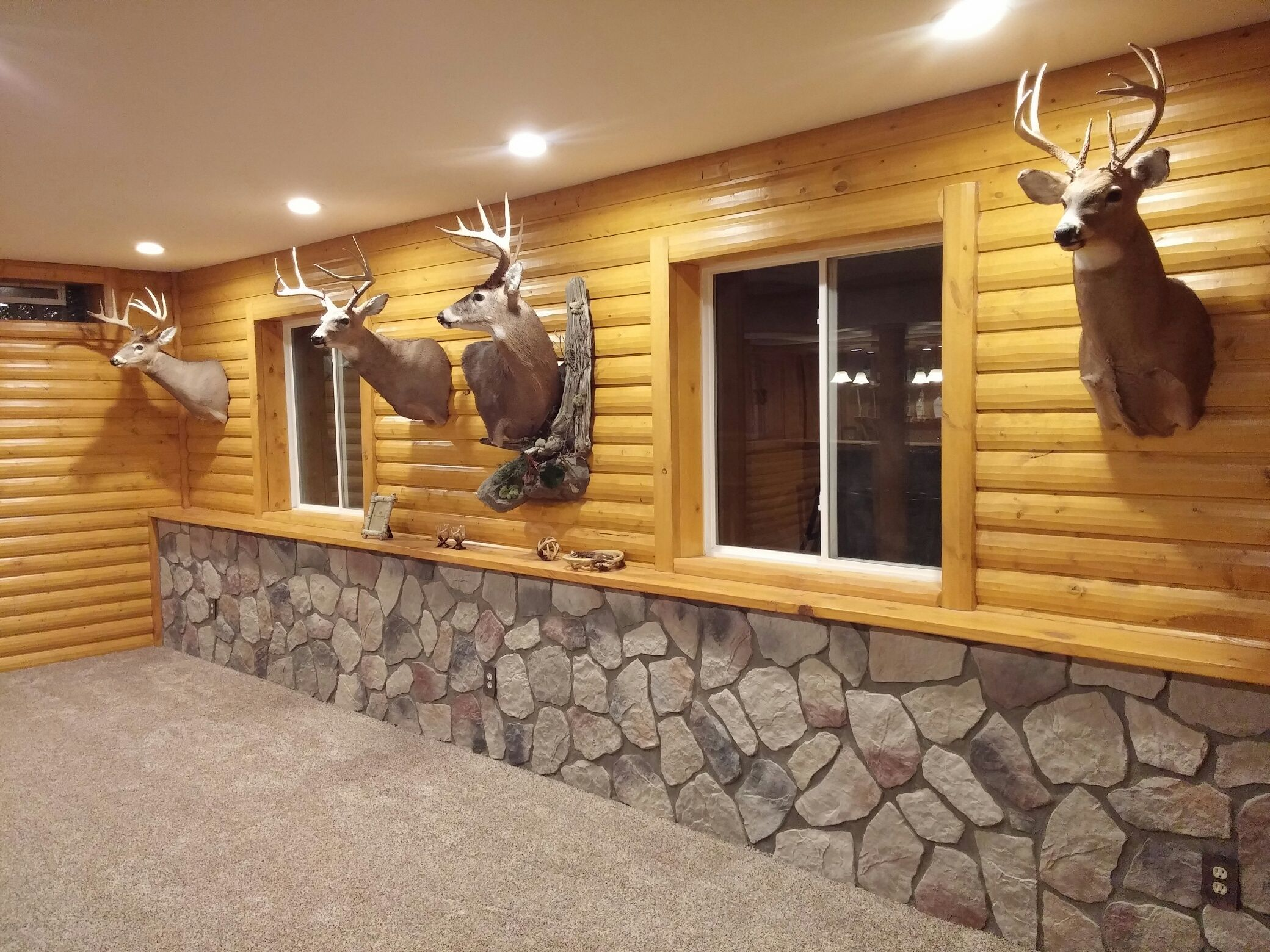 Basement With Log Siding Installed Log Home Interior Log Siding Log Homes