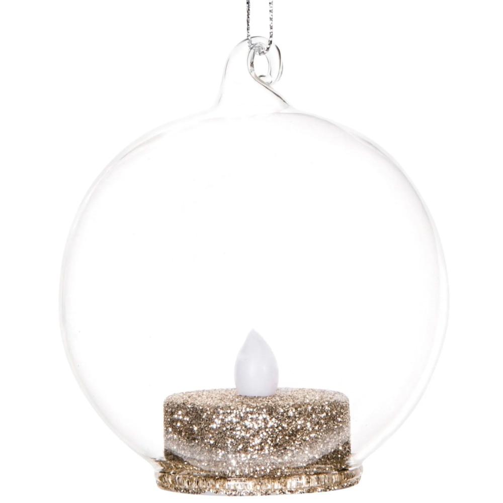 Boule de Noël en verre et bougie à LED dorée #bouledenoel