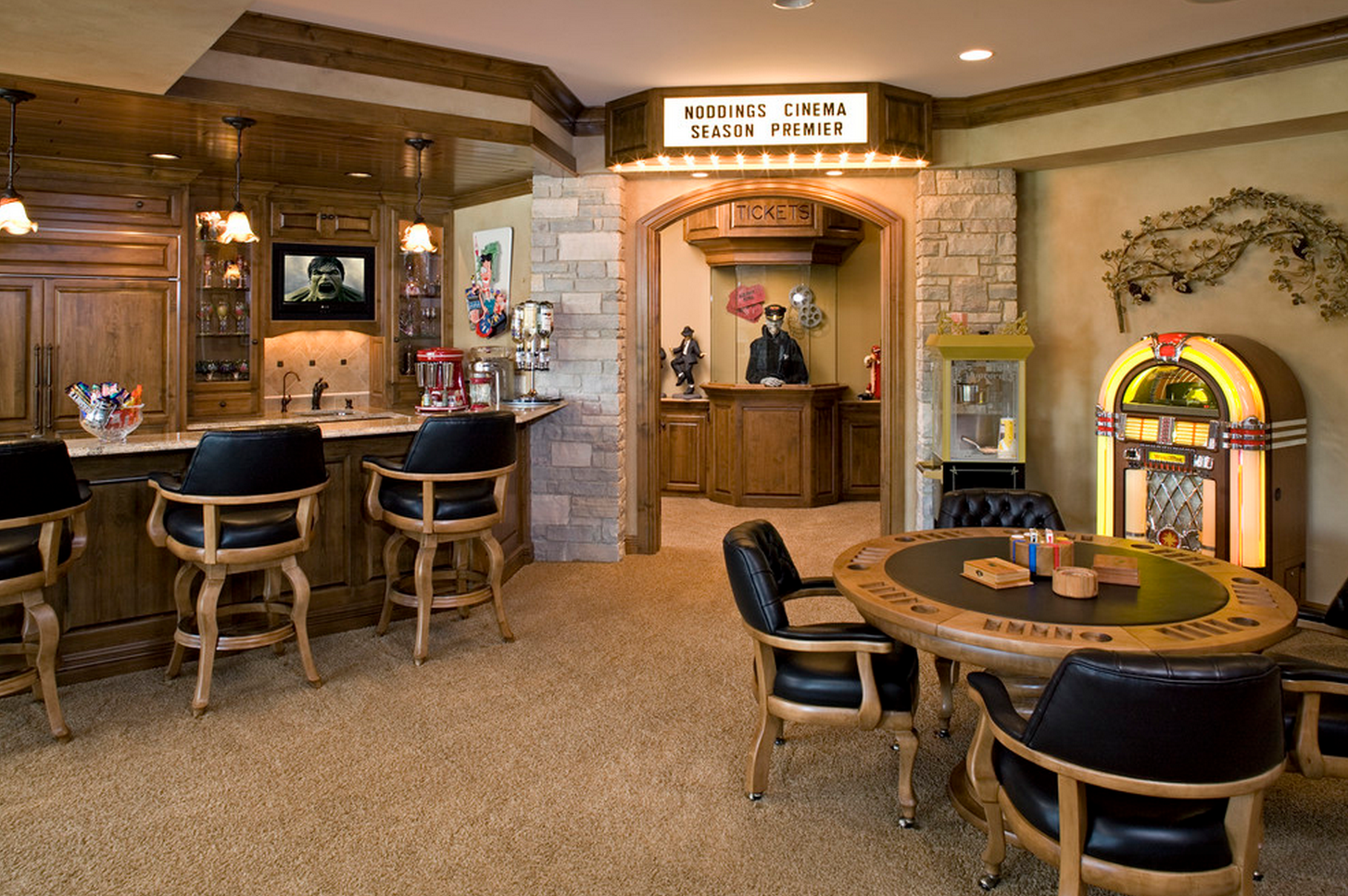 Bistro Pub Coffee Shop With Game Tables Music Tv And Next To Theatre Home Theater Rooms Media Room Design Bars For Home