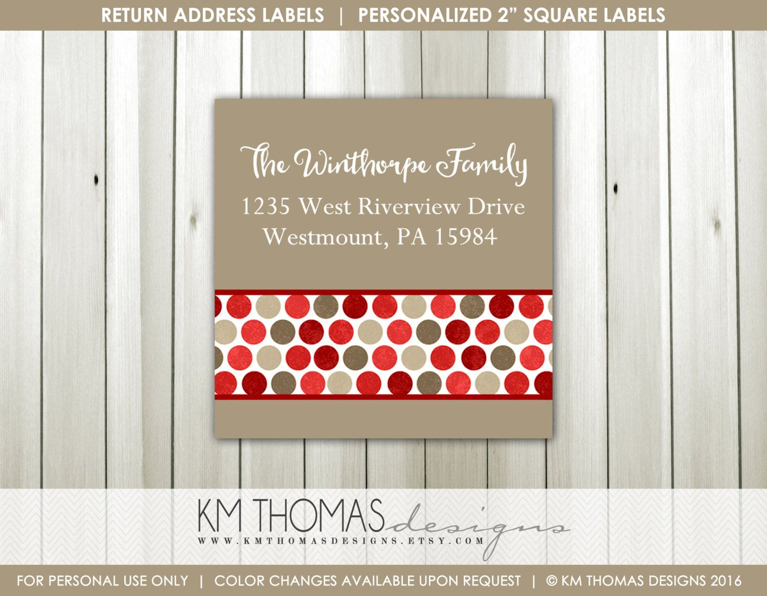 Square Printable Christmas Return Address Label, Matching Christmas ...