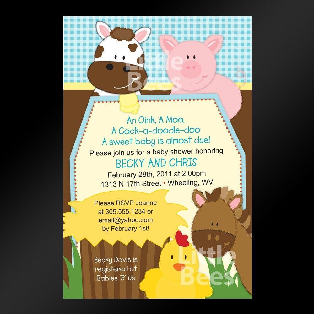 Farm Animals Printable Baby Shower or Birthday Invitation | baby ...