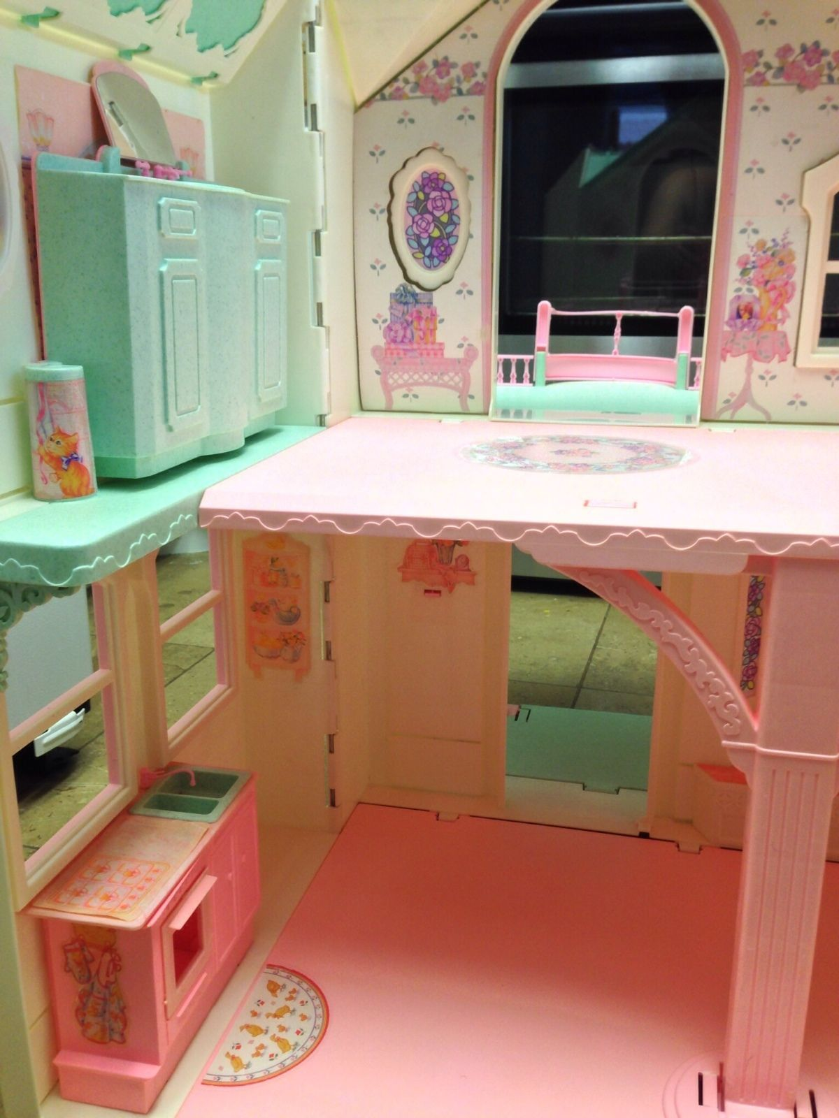 Turquoise Barbie House: 1995 Barbie First 2 Story Victorian Style Dream House