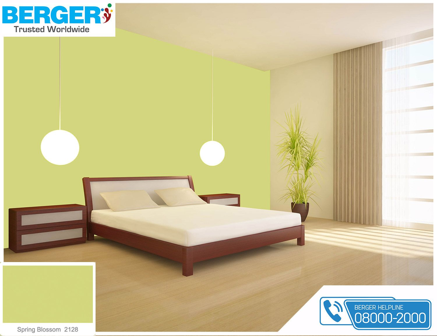 try attractive spring blossom paint in your bed room berger paints